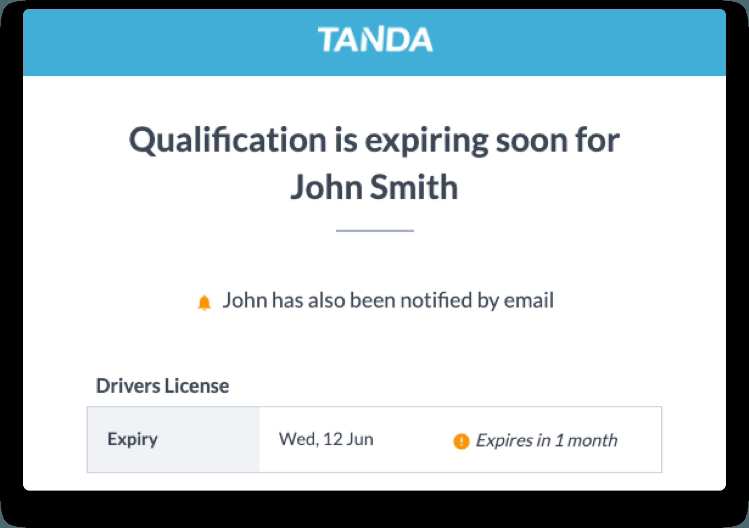 qualification expiring