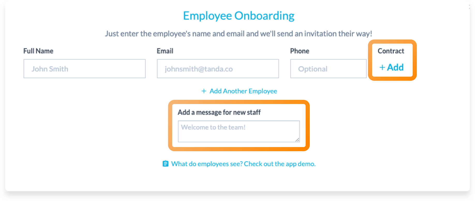 Add contract to onboarding invitation