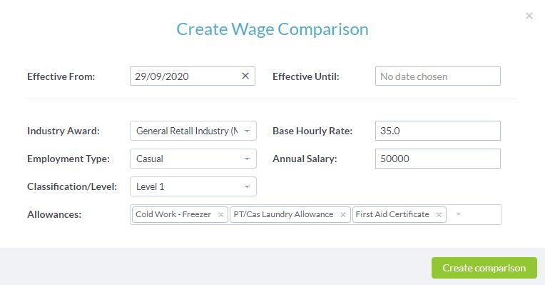 Wage compare detecting underpayments